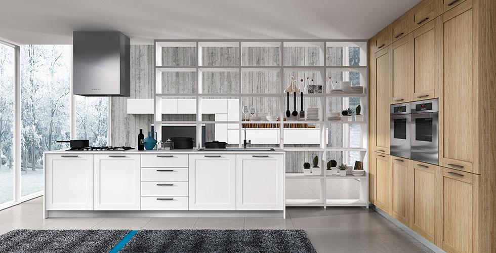 Donner à la cuisine l'atmosphère chaleureuse d'autrefois, sans renoncer à la simplicité du gout. Diadema associe tradition et minimalisme avec un design attentif aux détails, comme la porte châssis de 19mm d'épaisseur, la poignée externe, le chêne naturel scié et une sélection attentive des couleurs laquées opaques. Flexibilité de la composition pour une forte personnalité, pour des maisons modernes.