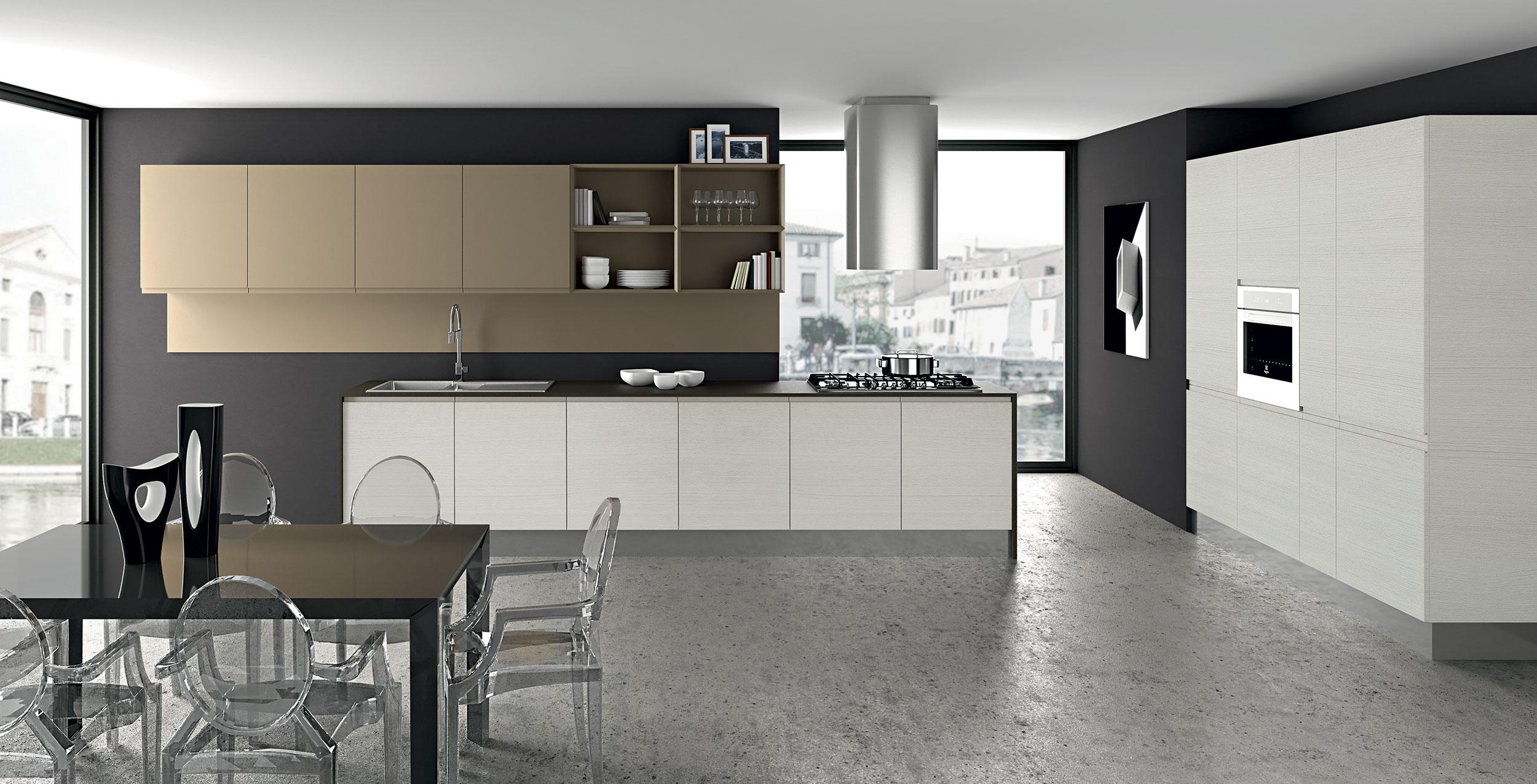 La poignée intégrée dans la porte de 22mm a une courbure si souple que non seulement la prise est sure et immédiate mais cela donne à la cuisine une touche de douceur élégante. La palette des couleurs neutres en ecowood et mono laqué opaque ou brillant donne une ambiance lumineuse et sereine qui transforme chaque combinaison et projet en un choix de style à un prix contenu. La versatilité de la composition permet d'articuler des espaces dynamiques et fonctionnels.