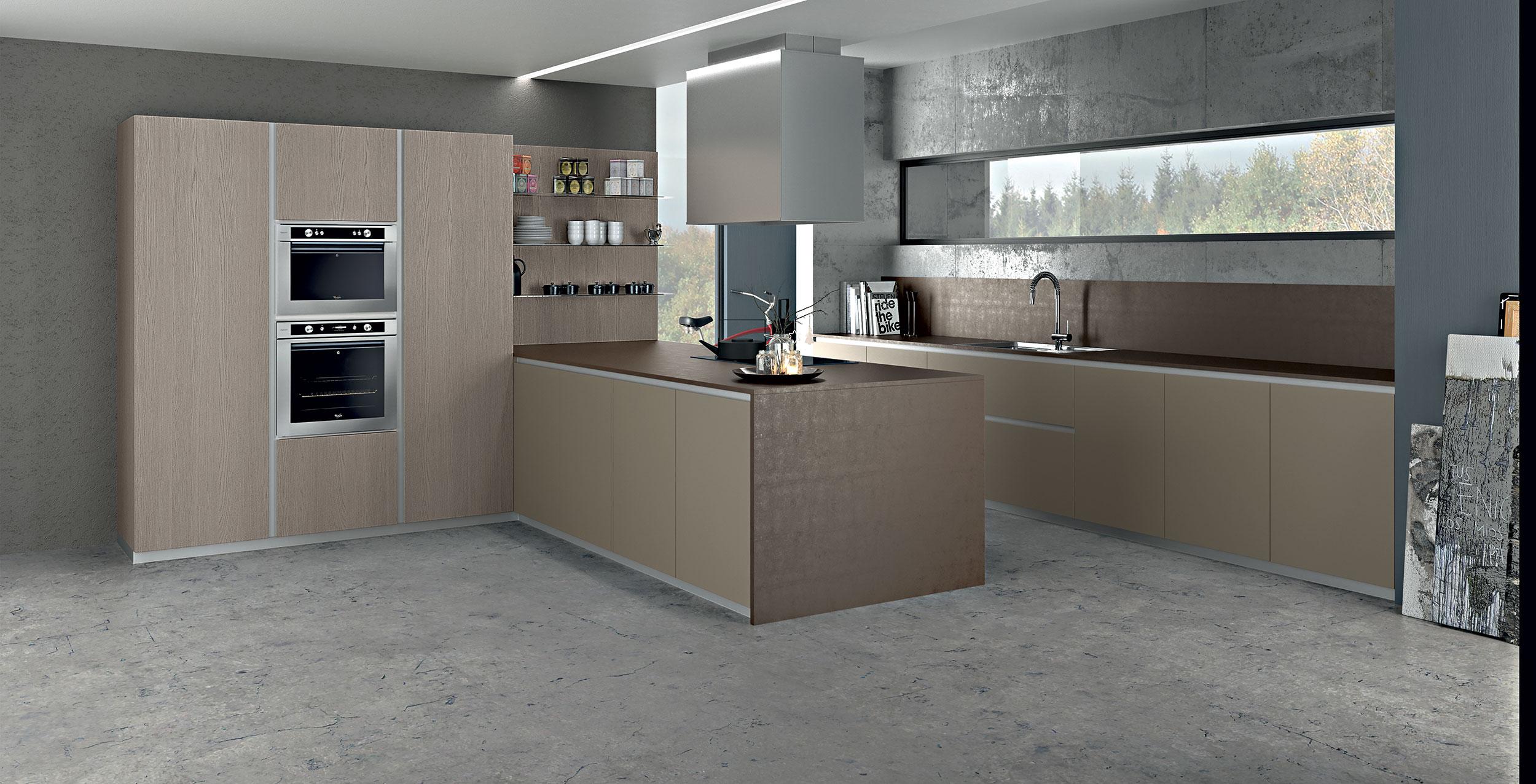 Zeta surprend par sa versatilité esthétique, et offre l'émotion d'un choix unique et original. La porte de design, de 22mm d'épaisseur, l'alliance parfaite du bois et de l'aluminium, exalte les lignes franches et rigoureuses de la cuisine et est résultat d'une recherche technique et esthétique. La finition originale Pet en deux couleurs opaques et brillantes est le fruit de la créativité italienne, l'effet du mélaminé thermo-structuré en cinq variations, 24 couleurs laquées opaques ou translucides, 8 métallisés et le laqué exclusif Iron avec un effet métallique créent une vaste gamme de possibilités pour satisfaire les demandes les plus originales et contemporaines.